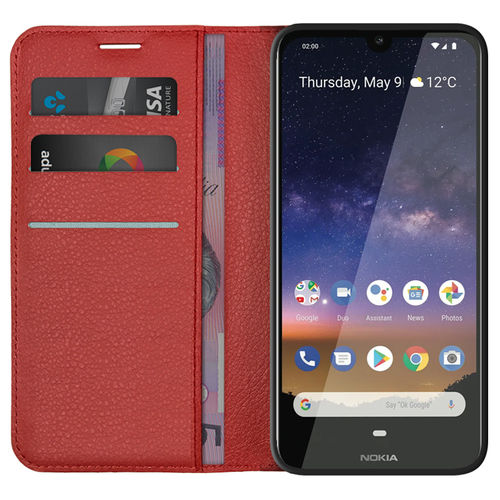 Leather Wallet Case & Card Holder Pouch for Nokia 2.2 - Red